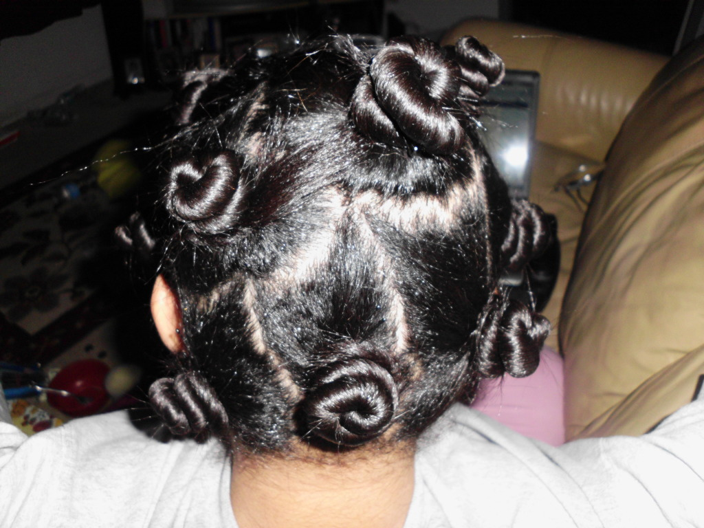 Bantu Knots On Texlaxed Hair Before Taking Down the Knots