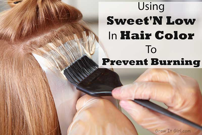 Coloring Hair Without Burning By Adding Sweet'N Low in Hair Color