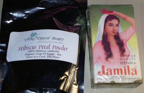 hibiscus and jamila henna used to strengthen and color hair