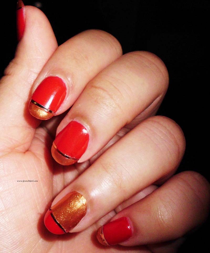 A red and gold manicure look and Nubar Nail Polish review. www.growitgirl.com
