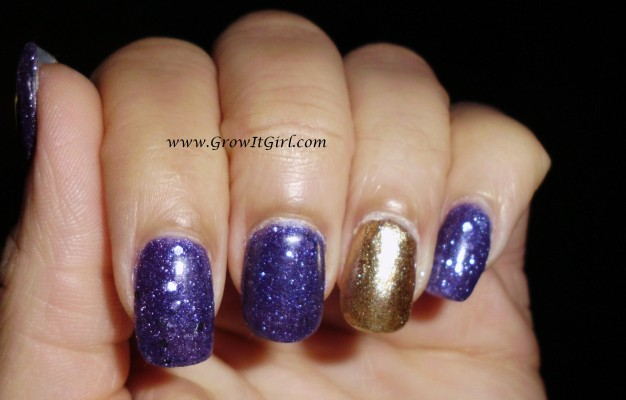 A purple and gold textured manicure featuring Zoya Ziv and OPI Can't Let Go nail polishes with a review of both polishes. www.growitgirl.com