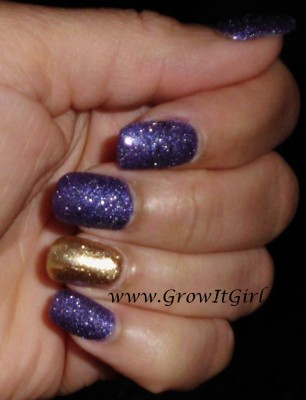 A purple and gold textured manicure featuring Zoya Ziv and OPI Can't Let Go nail polishes with a review of both polishes. Both polishes shown without a top coat. www.growitgirl.com