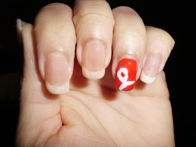 A red and white manicure in honor of my mother for lung cancer awareness