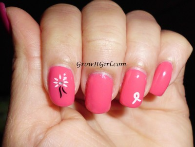 MANICure Monday flowers and awarness using the Julep Raegan nail polish