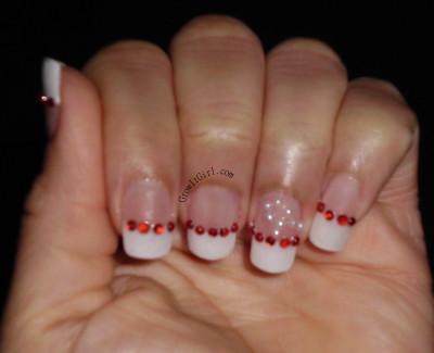 manicure monday rhinestone and pearl manicure