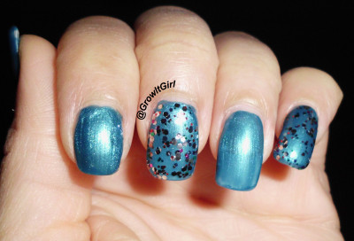 Holiday Blues manicure using wet n wild nail polish in Bijou and Party of Glitter