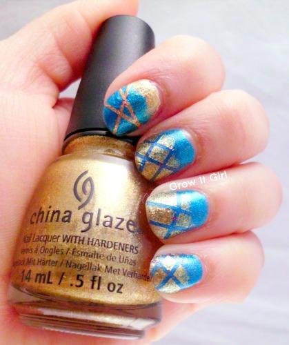 Manicure Using China Glaze Mingle with Kringle Gold Color