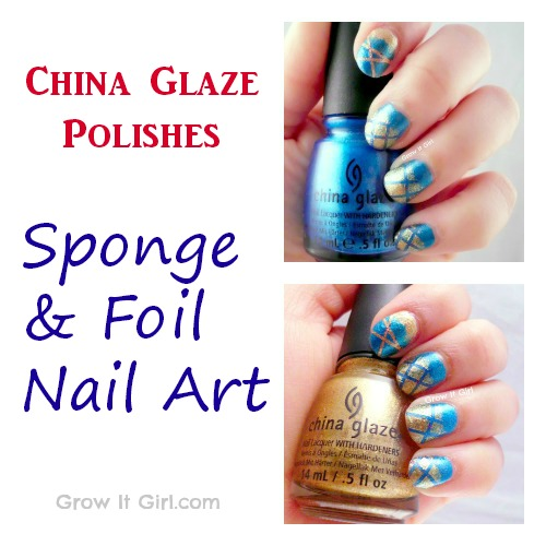 China Glaze Sponge and Foil Nail Art with Blue and Gold