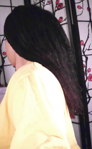 air dried hair after pre-poo step