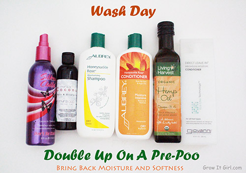 wash day process_double up on a pre-poo products used