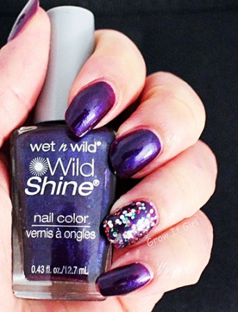Wet n Wild Eggplant Frost Manicure with Party of Five Glitters