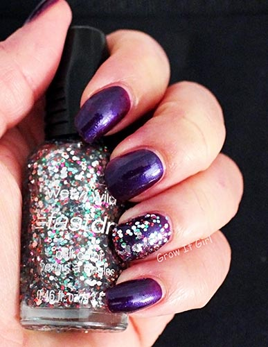 Wet n Wild Party of Five Glitters Manicure with Eggplant Frost
