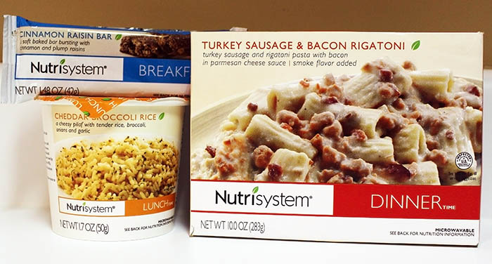 Nutrisytem Fast 5 Day 2 Turkey Sausage & Bacon Rigatoni, Cheddar Broccoli Rice,  and Cinnamon Raisin Bar