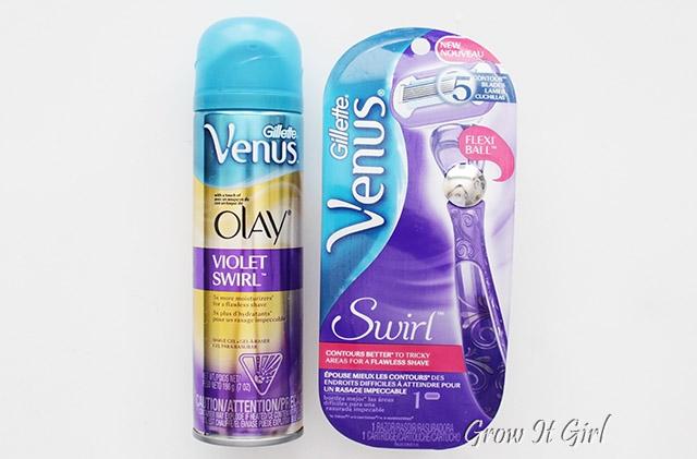 Gillette Venus Swirl Razor and Gillette  Venus Olay Violet Swirl Shave Gel