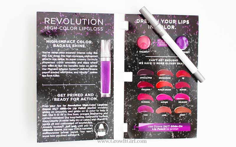 May Ipsy Subscription contained Urban Decay 247 Glide on Lip Pencil and Revolution High-Color Lip gloss