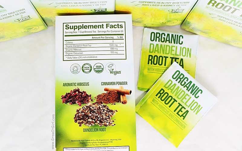 Organic Dandelion Root Tea with Hibiscus & Cinnamon Ingredients