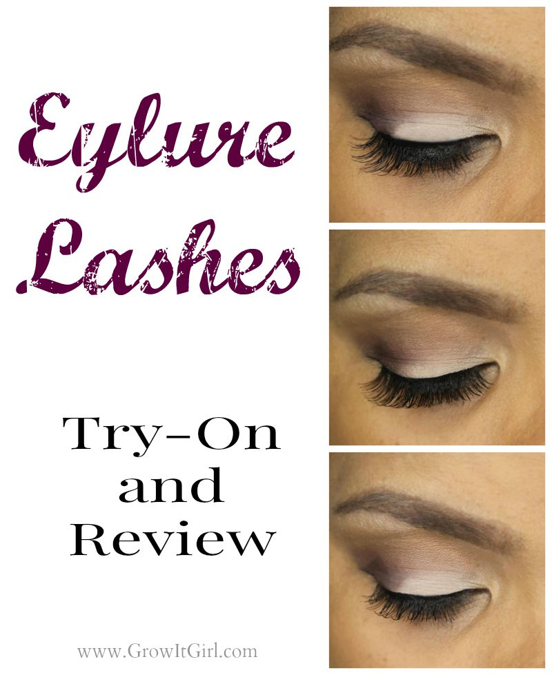 Eylure Lashes Try-On featuring the Volume, Lengthening, and Natural lashes from the brand.