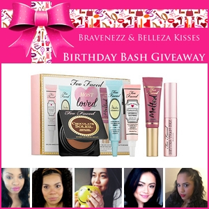Braveness and Belleza Kisses Birthday Bash Giveaway Too Faced Most Loved Kit