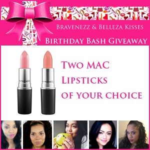 Braveness and Belleza Kisses Birthday Bash Giveaway MAC Lipstick Prize