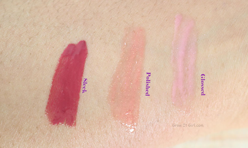 Mirabella Colour Luxe Lip Gloss Swatches