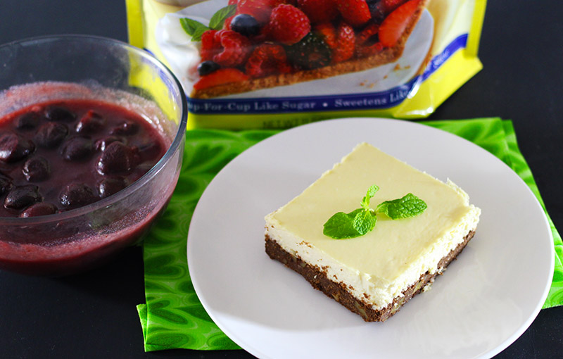 Lemon Brownie Cheesecake Bar with Cherry Topping