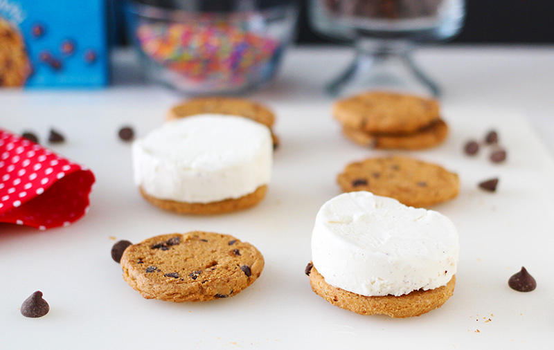 Ice Cream Sandwich Set Up for Chocolate Chip Ice Cream Sandwiches
