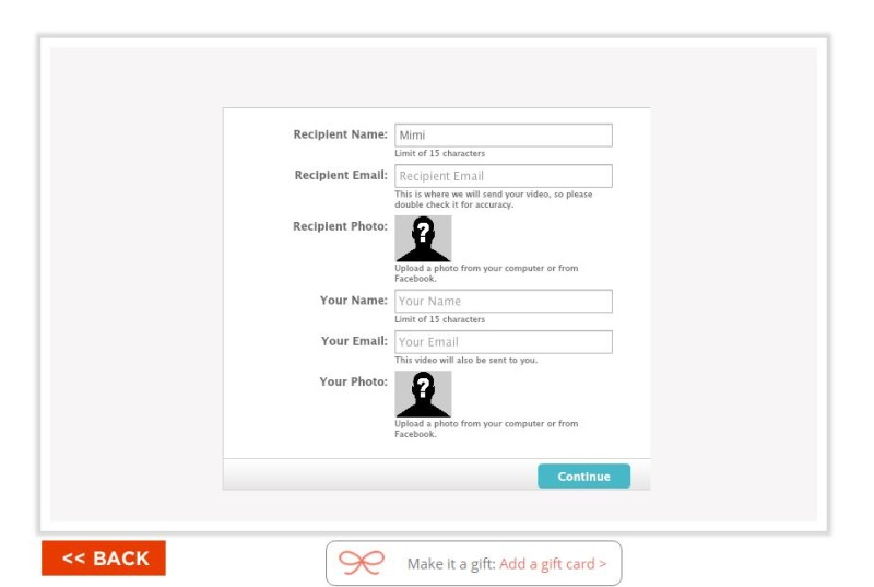 thegiftcardshop.com Recipient Information