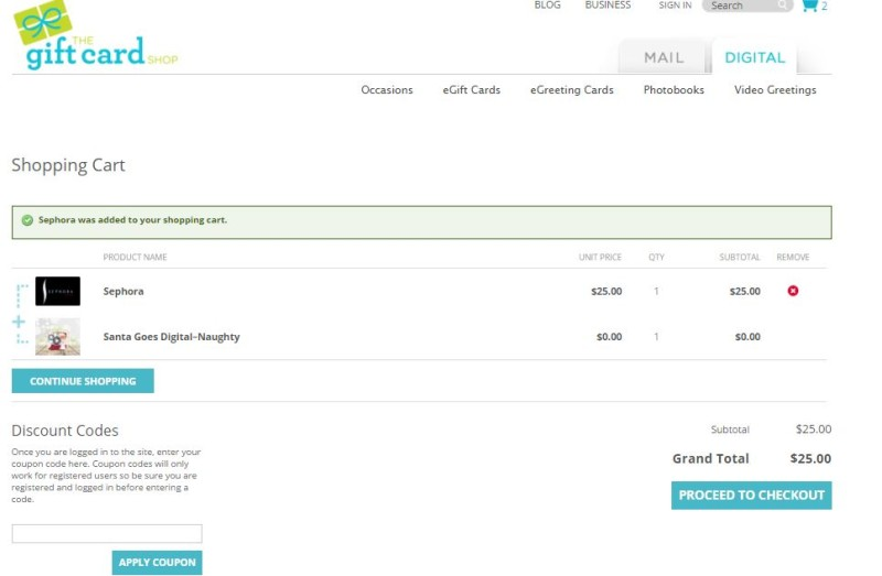 thegiftcardshop.com Shopping Cart and Review