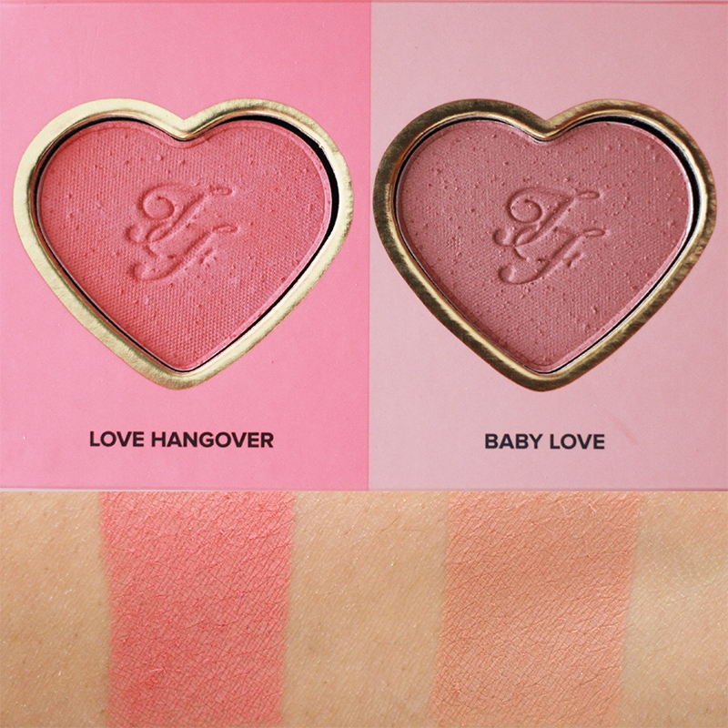 Too Faced Love Flush Blush Wardrobe Love Hangover and Baby Love Swatches