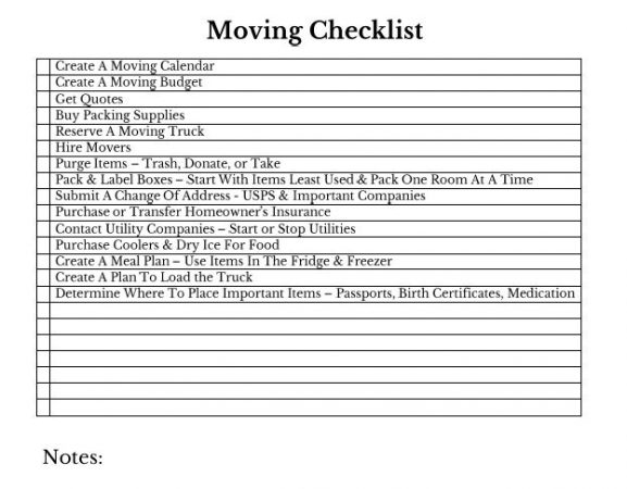 Moving Tips and Moving Checklist