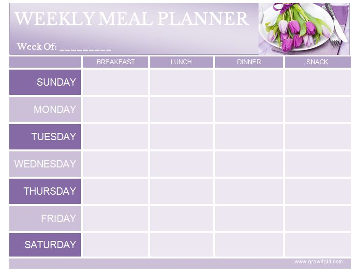 Weekly Meal Planner From Grow It Girl