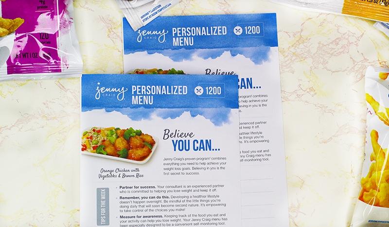 Jenny Craig Personalized Menu
